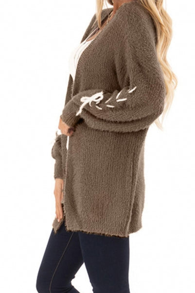 Brown Soft Long Sleeve Cardigan with Stitch Detail