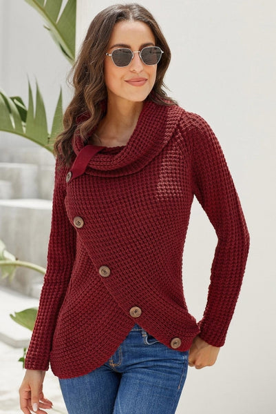 Burgundy Buttoned Wrap Turtleneck Sweater - girlyrose.com