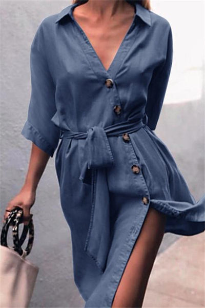 Button Up Midi Dress - girlyrose.com
