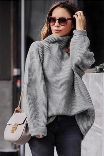 Casual easy turtlenecck sweater knitted sweater - girlyrose.com