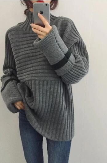 CASUAL TO ADD LONG SLEEVE TURTLENECK TURTLENECK KNITTING SWEATER - girlyrose.com