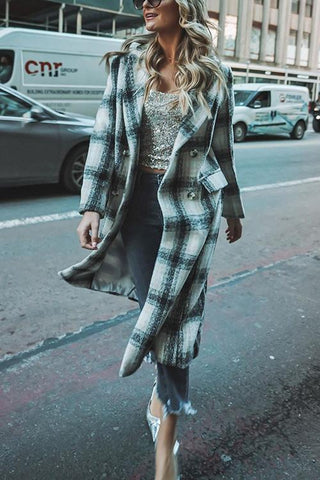 Plaid Pockets Button Lapel Coat - girlyrose.com