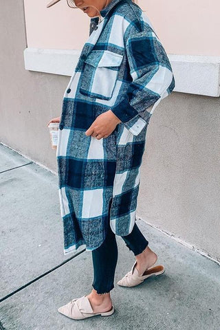 Single Breasted Plaid Long Coat - girlyrose.com