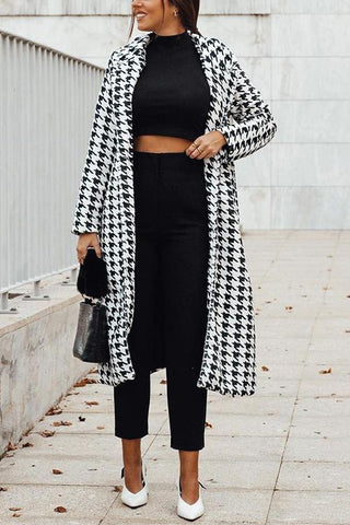 Houndstooth Lapel Woolen Coat - girlyrose.com