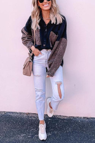Leopard Patchwork Denim Jackets - girlyrose.com