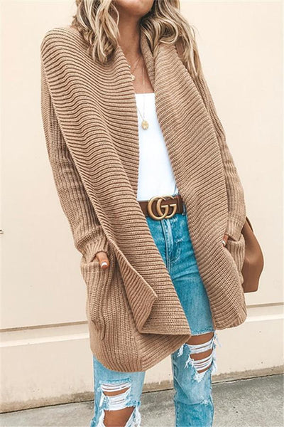 Camel Lapel Oversize Sweater