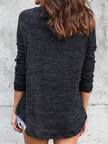 Casual Basic Turtleneck Solid Color Loose Pullover Top - girlyrose.com