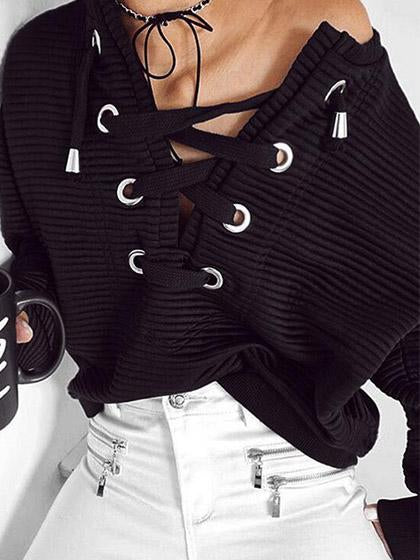 Casual Black Bandage Cross Ties Pullover Top