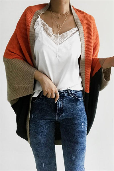 Casual Color Block Loose Cardigan - girlyrose.com