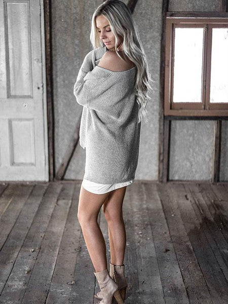 Casual Deep V Neck Knit Black Gray Sweater