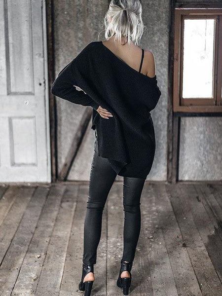 Casual Deep V Neck Knit Black Sweater - girlyrose.com