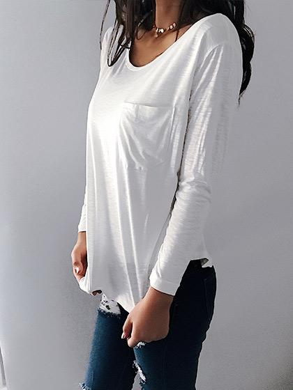 Casual Elegant Chest Pocket White Long Sleeve - girlyrose.com