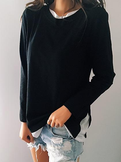 Casual Elegant Round Neckline Long Sleeve Top