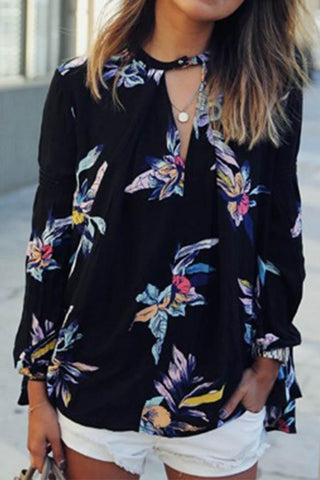 Casual Floral Printed Long Sleeve Shirt Top Sleeve