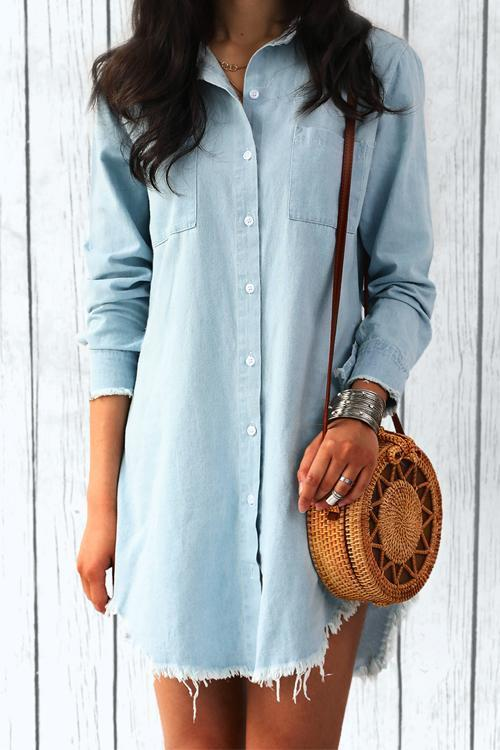Casual Frayed Hem Long Denim Shirt - girlyrose.com
