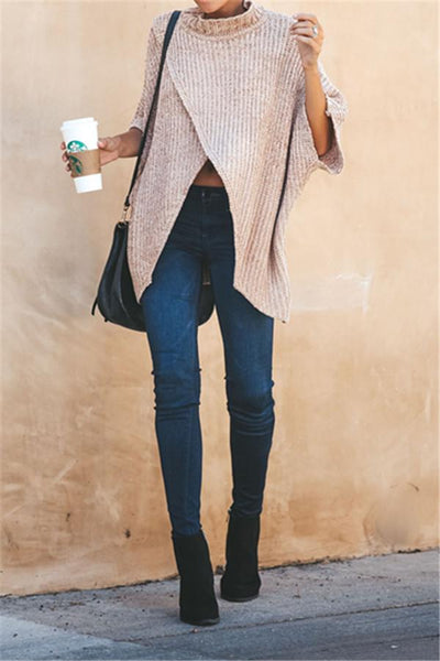Casual Front Split Oversize Sweater