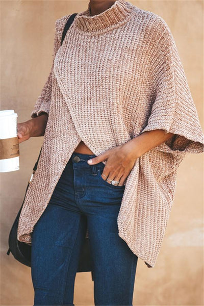 Casual Front Split Oversize Sweater - girlyrose.com