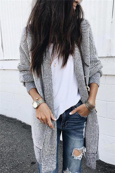 Casual Gray Long Cardigan - girlyrose.com