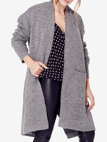 Casual Knit Solid Color Loose Cardigan Coat