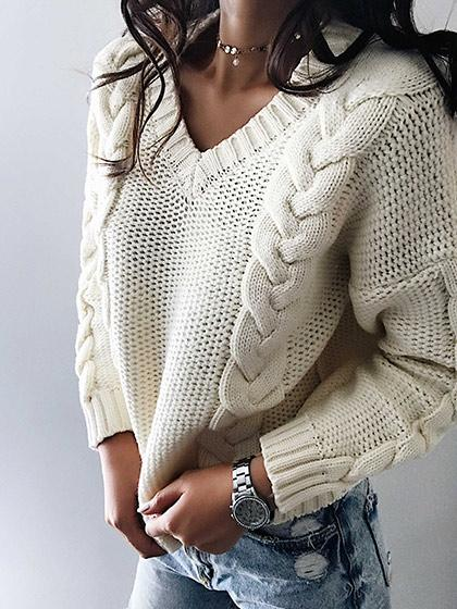 Casual Knit V Neck Solid Color Loose Sweater - girlyrose.com