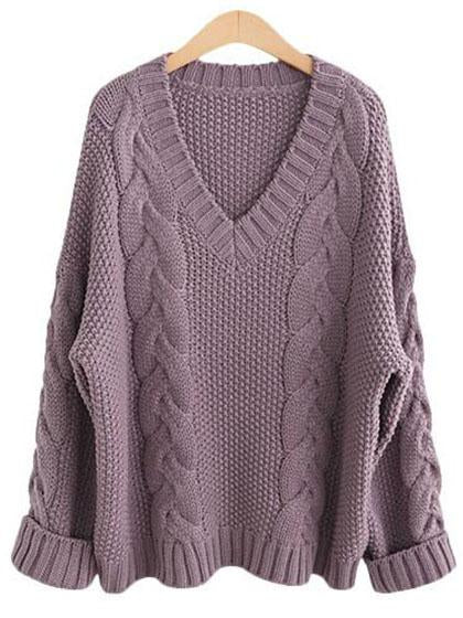 Casual Knit V Neck Solid Color Loose Sweater