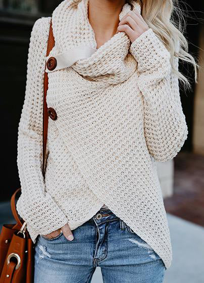 Casual Long Sleeve Front Cross Sweater