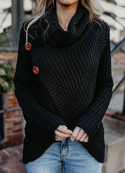 Casual Long Sleeve Front Cross Sweater - girlyrose.com