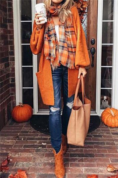 Casual Oversize Orange Long Cadigan - girlyrose.com