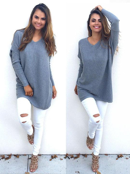 Casual Oversize Solid Color Sweater - girlyrose.com