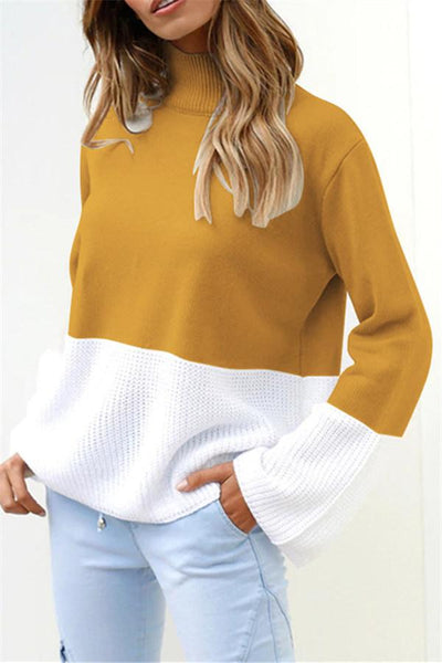 Casual Patchwork Turtleneck Sweater