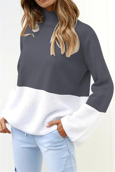 Casual Patchwork Turtleneck Sweater - girlyrose.com