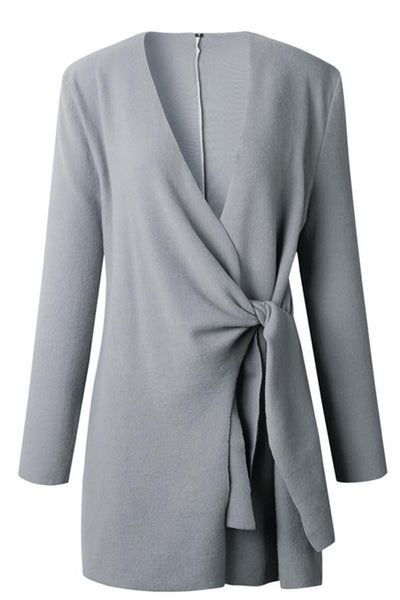 Casual Self Tie Coat - girlyrose.com