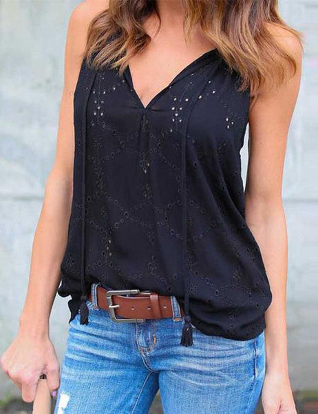 Casual Sleeveless Blouse Embroidery T Shirt - girlyrose.com