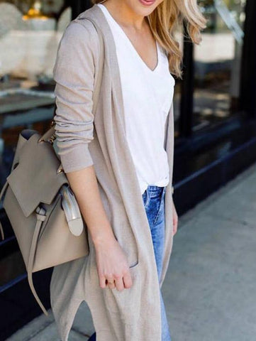 Casual Solid Color Sleeves Cardigan - girlyrose.com