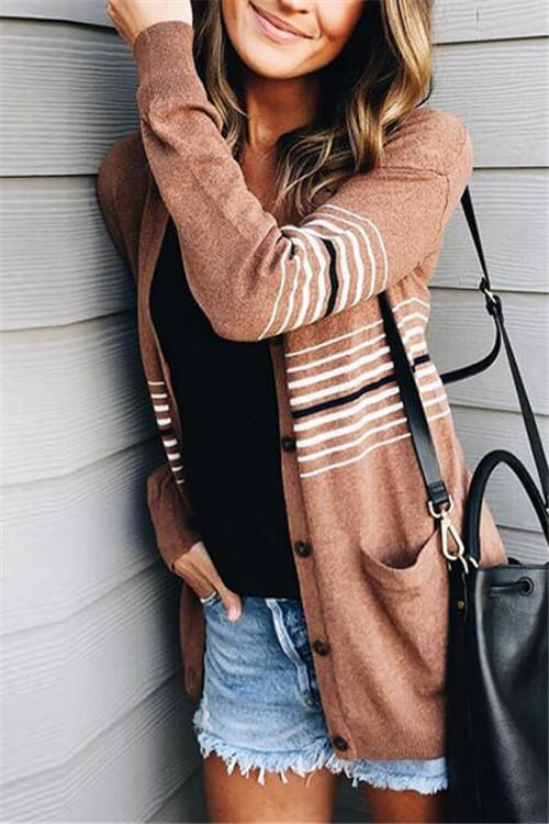 Casual Striped Cardigan - girlyrose.com