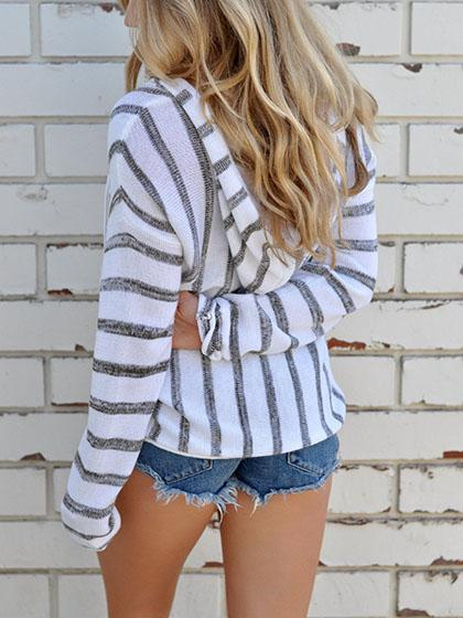 Casual Striped Hoodie Top - girlyrose.com