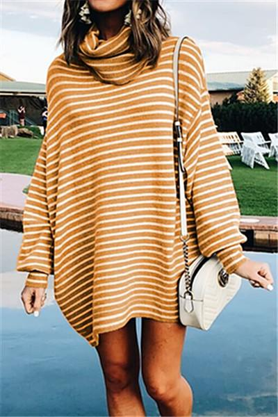 Casual Striped Turtleneck Loose Sweater