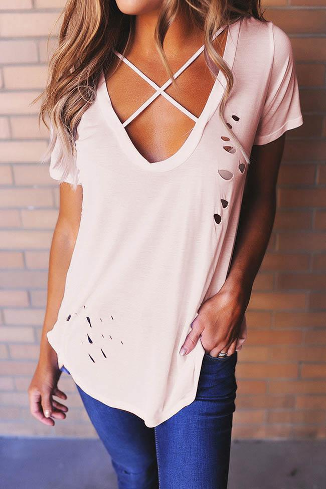 Casual V Neck Hollow Short Sleeve Tee - girlyrose.com