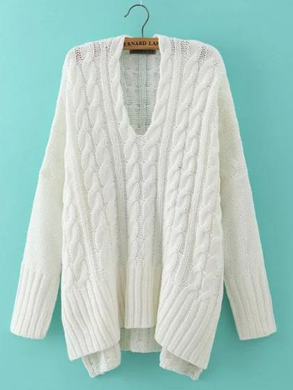 Casual V Neck Solid Color Loose Sweater