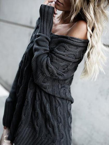 Casual V Neck Solid Color Loose Sweater - girlyrose.com