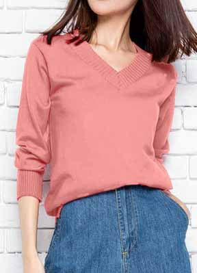 Casual V Neck Solid Color Loose Top - girlyrose.com