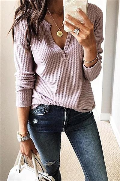 Casual V Neck Sweatshirt - girlyrose.com