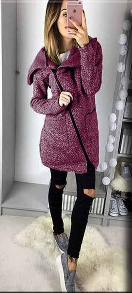 Casual Zipper Gray Loose Coat - girlyrose.com
