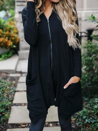 Casual Zipper Hoodie Black Loose Coat