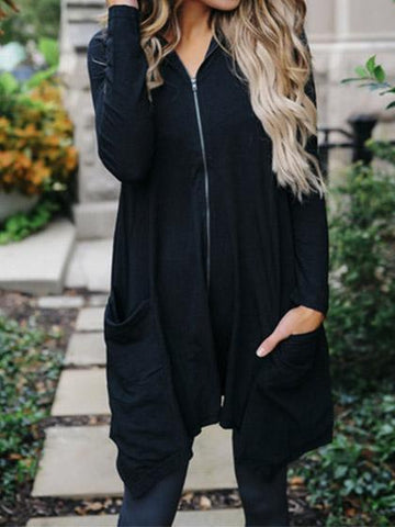Casual Zipper Hoodie Black Loose Coat - girlyrose.com