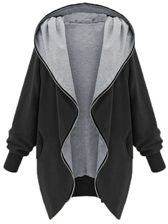Casual Zipper Hoodie Cape Coat - girlyrose.com