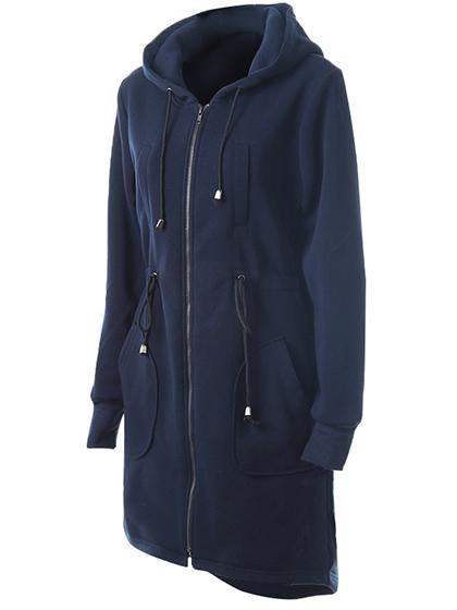 Casual Zipper Hoodie Navy Long Coat - girlyrose.com