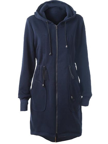 Casual Zipper Hoodie Navy Long Coat