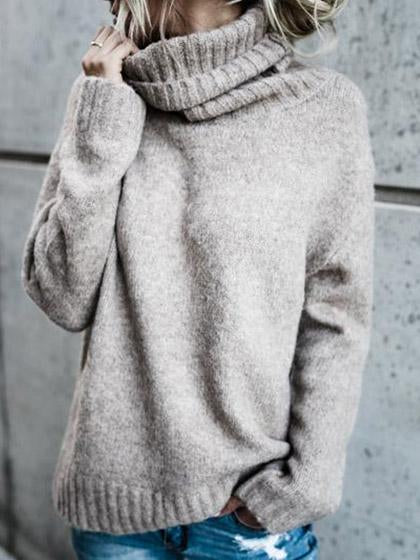 Causal Knit High Neck Loose Sweater