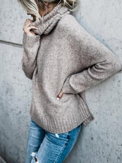 Causal Knit High Neck Loose Sweater - girlyrose.com